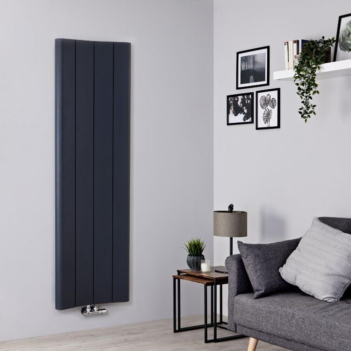 Milano Solis - Anthracite Vertical Aluminium Designer Radiator 1600mm x 495mm