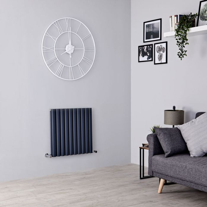 Milano Aruba Ayre - Aluminium Anthracite Horizontal Designer Radiator 600mm x 590mm (Double Panel)