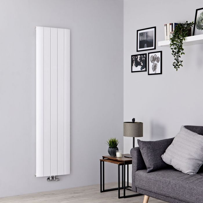 Milano Skye - White Aluminium Designer Vertical Radiator 1600mm x 470mm