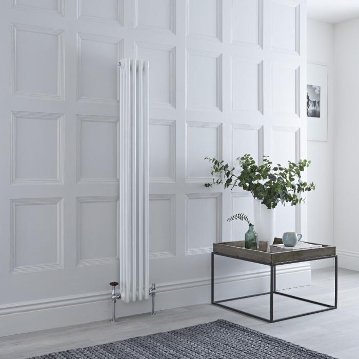 Milano Windsor - Vertical Triple Column White Traditional Cast Iron Style Radiator - 1500mm x 200mm