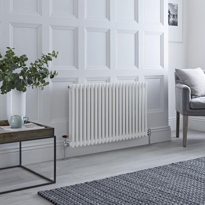 Milano Windsor - Horizontal Double Column White Traditional Cast Iron Style Radiator - 600mm x 1010mm