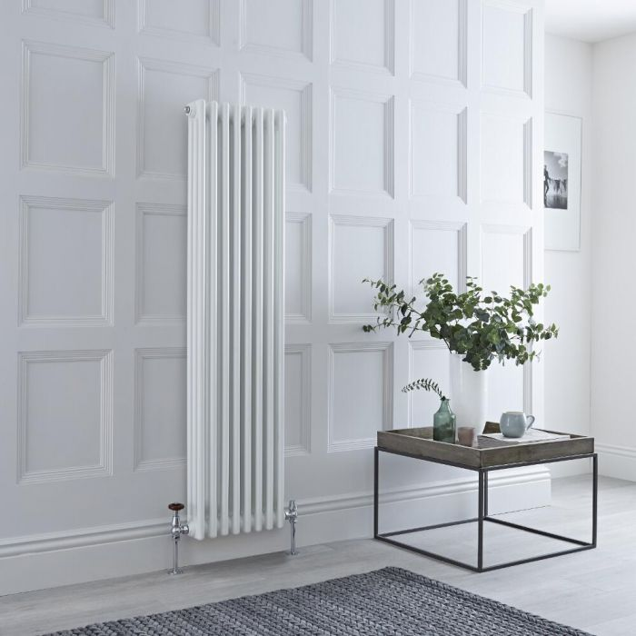 Milano Windsor - Vertical Triple Column White Traditional Cast Iron Style Radiator - 1500mm x 380mm