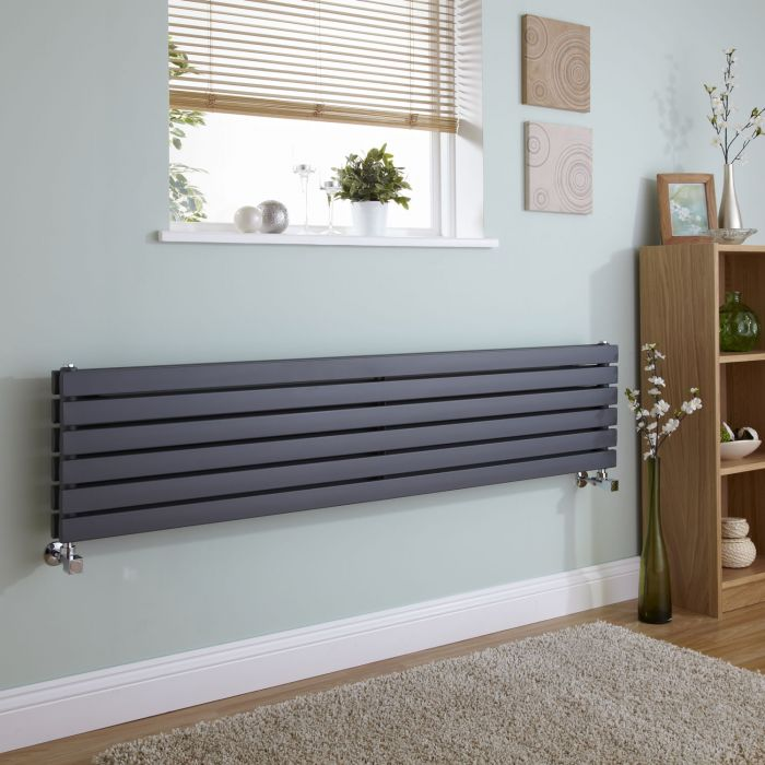 Milano Capri - Anthracite Flat Horizontal Designer Radiator 354mm x 1600mm (Double Panel)