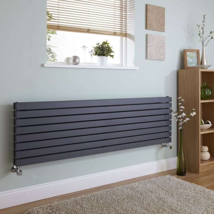Milano Capri - Anthracite Horizontal Flat Panel Double Designer Radiator 472mm x 1600mm