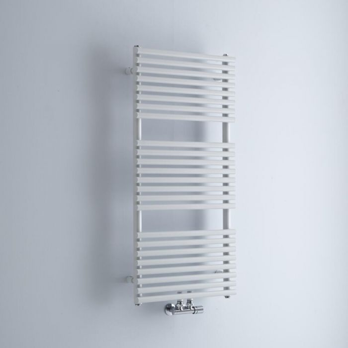 Milano Via - White Bar on Bar Central Connection Heated Towel Rail 1065mm x 500mm