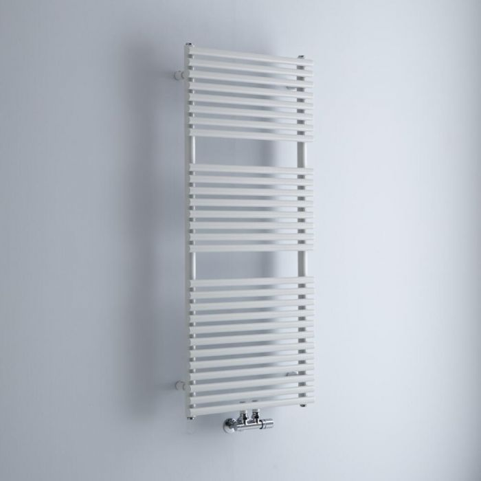 Milano Via - White Bar on Bar Central Connection Heated Towel Rail 1215mm x 500mm
