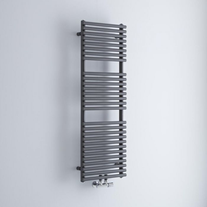 Milano Via - Anthracite Bar on Bar Central Connection Heated Towel Rail 1216mm x 400mm
