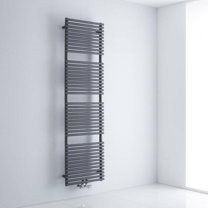 Milano Via - Anthracite Bar on Bar Central Connection Heated Towel Rail 1823mm x 500mm