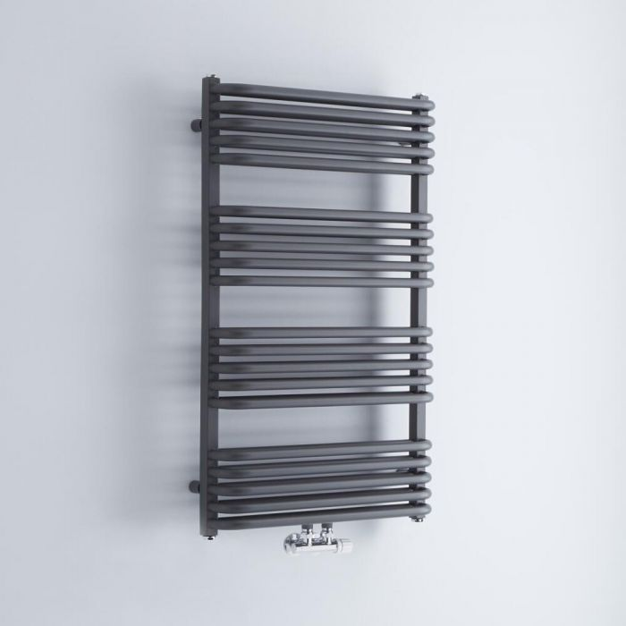Milano Bow - Anthracite D Bar Heated Towel Rail 1000mm x 600mm