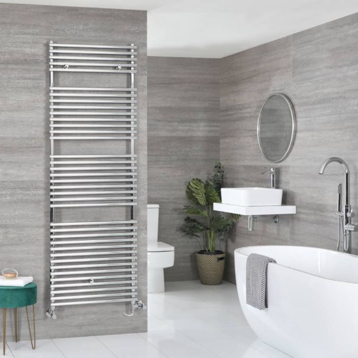 Milano Arno - Chrome Dual Fuel Bar on Bar Heated Towel Rail 1738mm x 450mm
