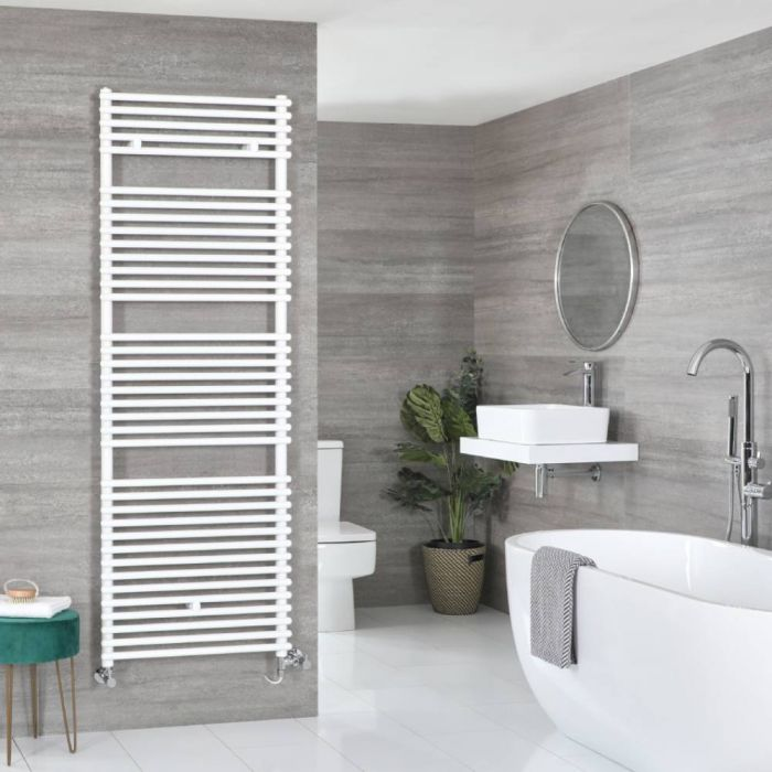 Milano Arno - White Dual Fuel Bar on Bar Heated Towel Rail 1738mm x 600mm