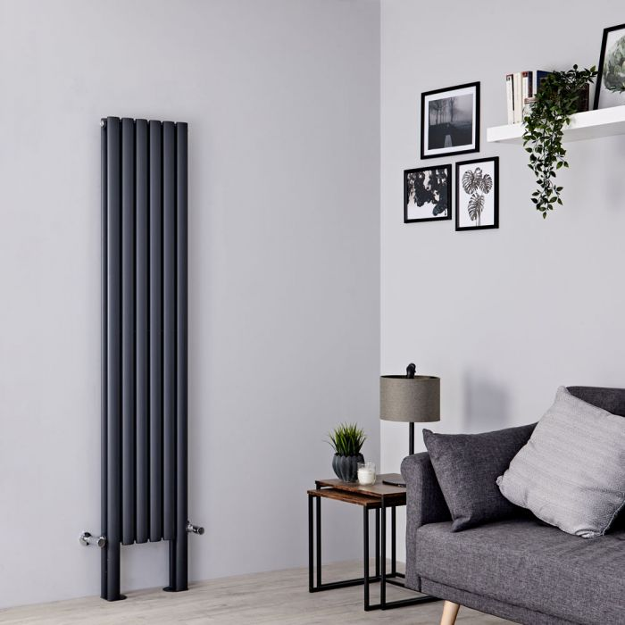 Milano Aruba Plus - Anthracite Vertical Designer Radiator with Feet 1800mm x 354mm (Double Panel)