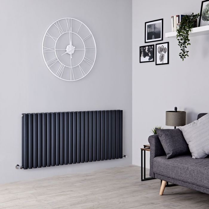 Milano Aruba - Anthracite Horizontal Designer Double Radiator 635mm x 1411mm