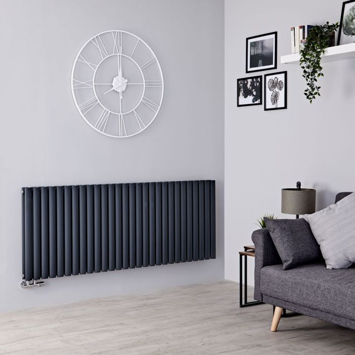 Milano Aruba Flow - Anthracite Horizontal Double Panel Middle Connection Designer Radiator 635mm x 1647mm