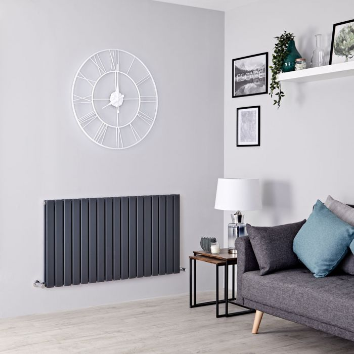 Milano Alpha - Anthracite Horizontal Double Slim Panel Designer Radiator 635mm x 1190mm