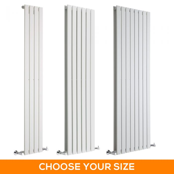 Milano Alpha - White Vertical Designer Radiator - Various Sizes
