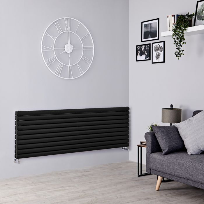 Milano Aruba - Black Horizontal Designer Radiator 590mm x 1600mm (Double Panel)