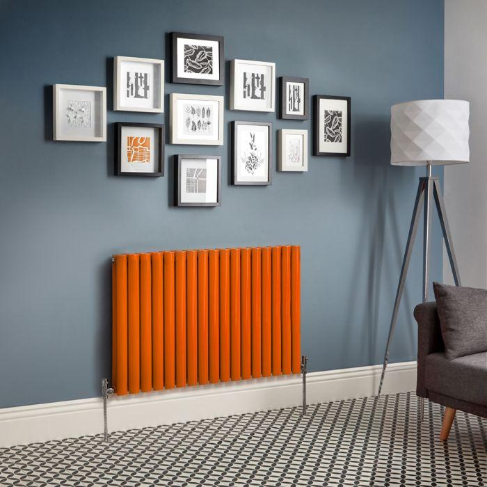 Milano Aruba - Orange Horizontal Double Panel Designer Radiator - Various Sizes