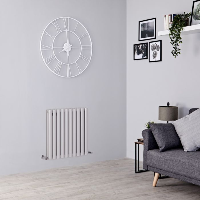 Milano Aruba - Light Grey Horizontal Designer Radiator 635mm x 595mm (Double Panel)