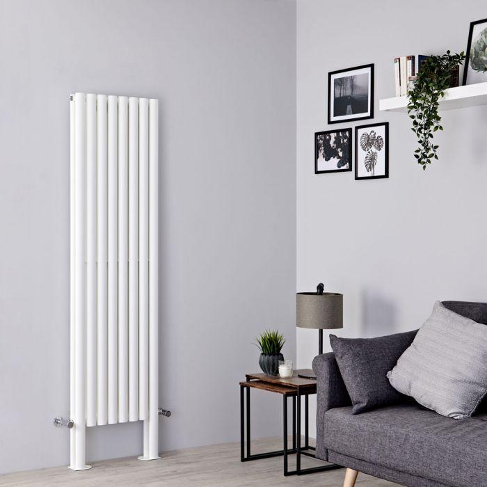 Milano Aruba Plus - White Vertical Designer Radiator with Feet 1800mm x 472mm (Double Panel)