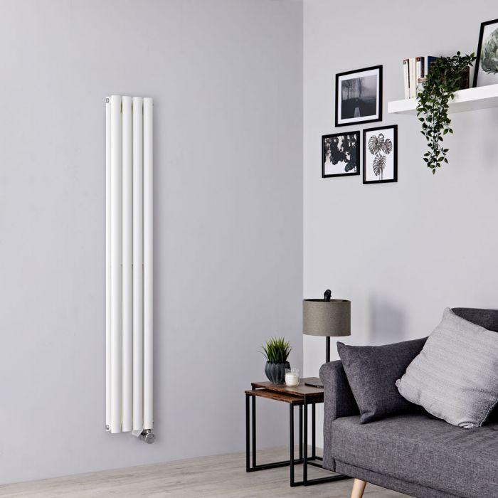 Milano Aruba Slim Electric - White Space-Saving Vertical Designer Radiator 1600mm x 236mm (Double Panel)