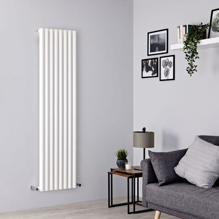 Milano Java - White Vertical Round Tube Designer Radiator 1600mm x 472mm