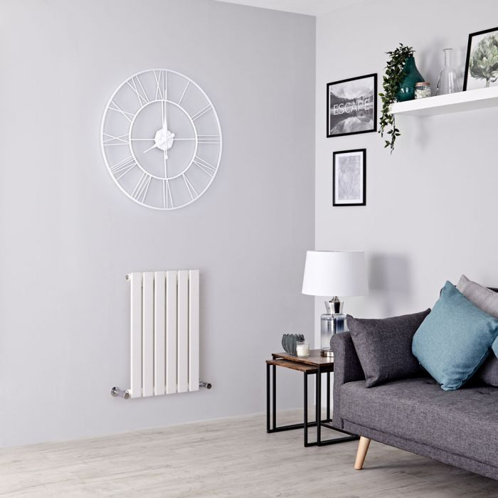 Milano Alpha - White Horizontal Single Slim Panel Designer Radiator 635mm x 420mm