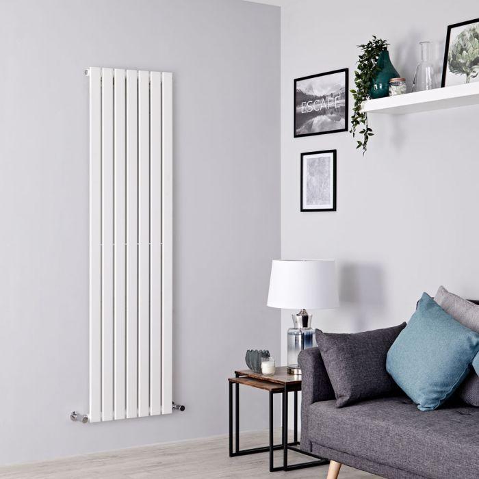 Milano Alpha - White Vertical Single Slim Panel Designer Radiator 1600mm x 490mm