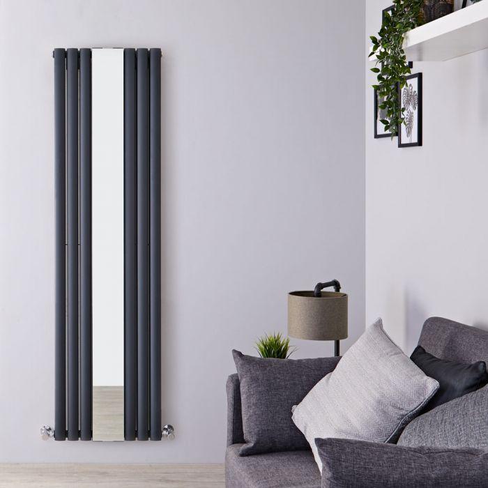 Milano Aruba - Anthracite Vertical Mirrored Designer Radiator 1800mm x 499mm (Double Panel)
