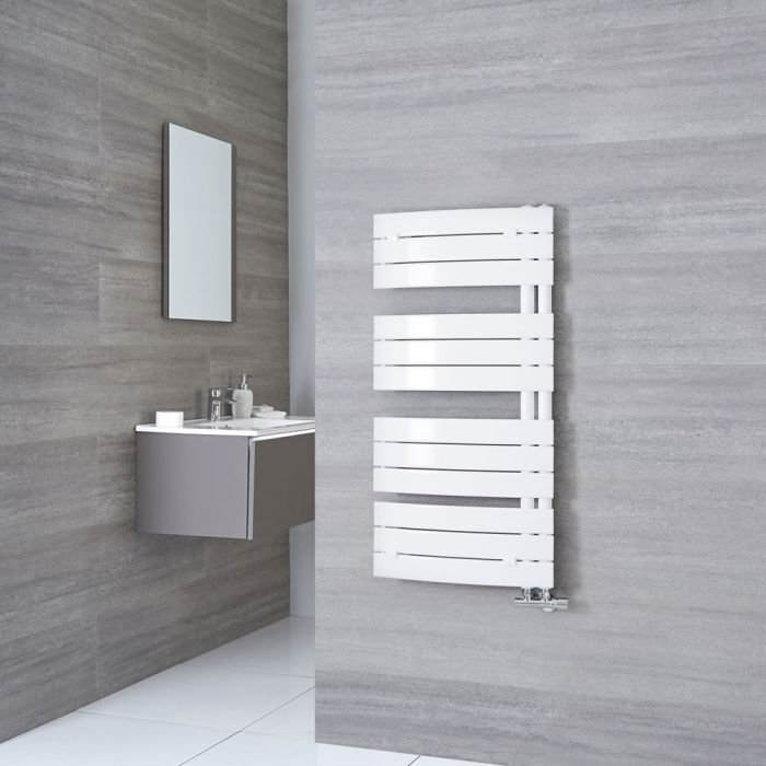 Milano Azore - White Curved Heated Towel Rail 1080mm x 550mm