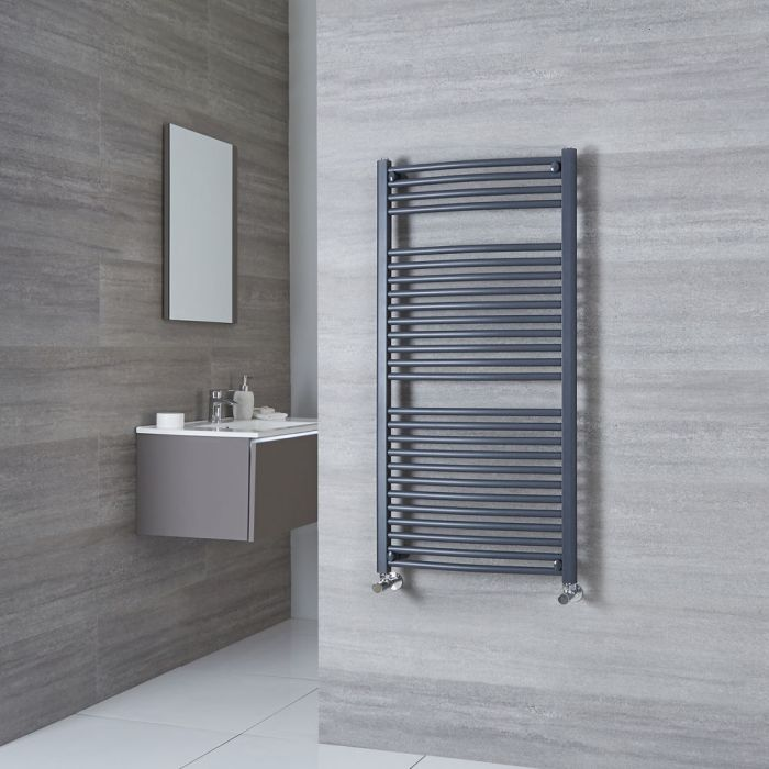 Milano Brook - Anthracite Curved Heated Towel Rail 1200mm x 600mm