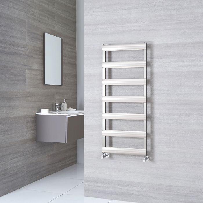 Milano Passo - Brushed Chrome Aluminium Designer Towel Rail 1190mm x 500mm