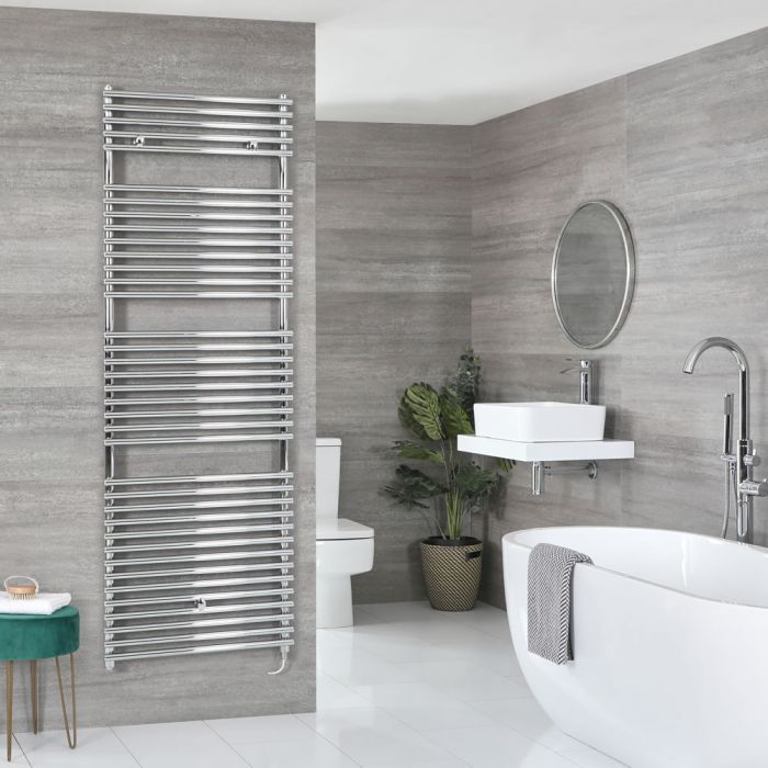 Milano Arno Electric - Chrome Bar on Bar Heated Towel Rail 1738mm x 600mm