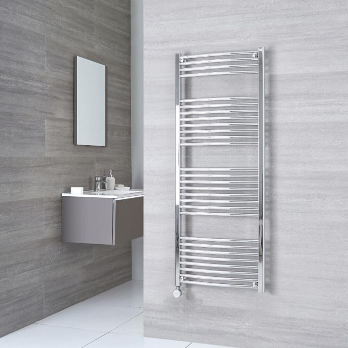 Milano Ribble Electric - Curved Chrome Heated Towel Rail 1500mm x 500mm