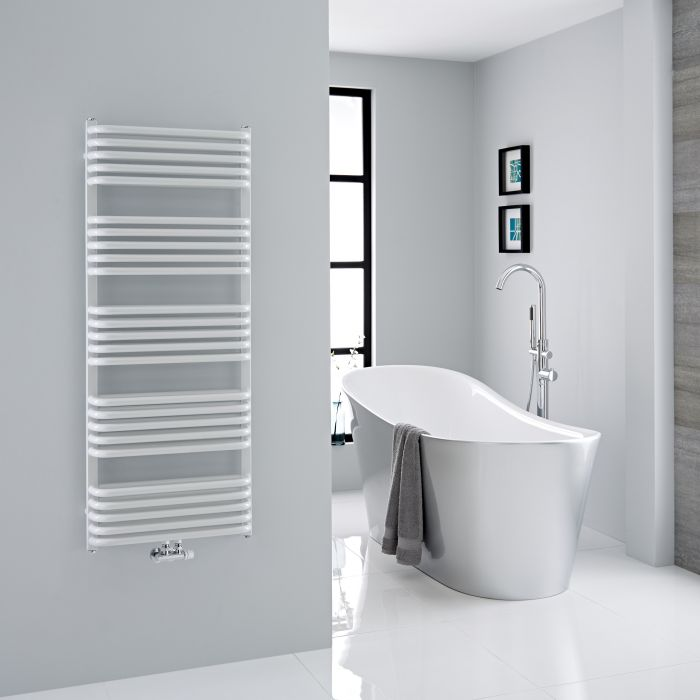 Milano Bow - White D Bar Heated Towel Rail 1269mm x 500mm