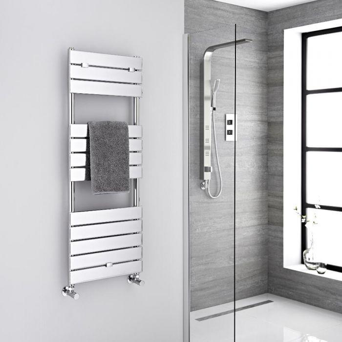 Milano Lustro - Designer Chrome Flat Panel Heated Towel Rail - 1213mm x 450mm