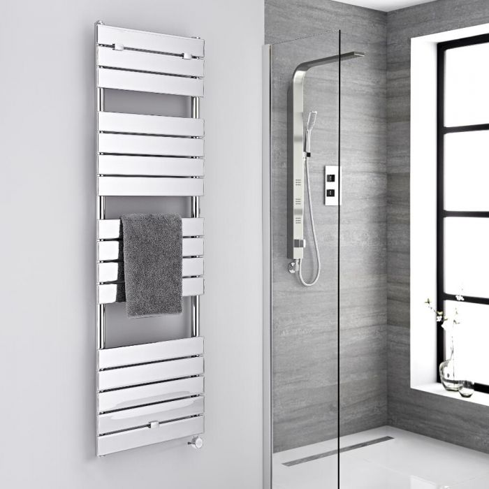 Milano Electric Lustro - Designer Chrome Flat Panel Heated Towel Rail - 1512mm x 450mm