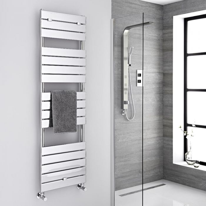Milano Lustro - Designer Chrome Flat Panel Heated Towel Rail - 1512mm x 450mm