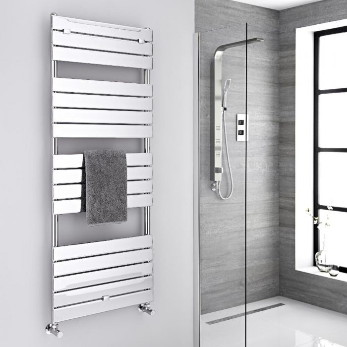 Milano Lustro - Designer Chrome Flat Panel Heated Towel Rail - 1512mm x 600mm