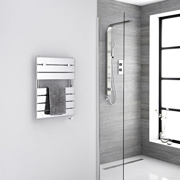 Milano Electric Lustro - Designer Chrome Flat Panel Heated Towel Rail - 620mm x 455mm