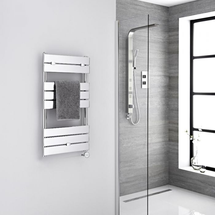 Milano Electric Lustro - Designer Chrome Flat Panel Heated Towel Rail - 840mm x 450mm