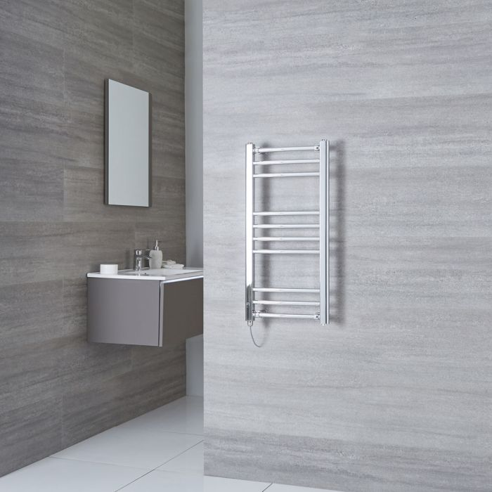 Milano Eco Electric - Curved Chrome Heated Towel Rail 800mm x 400mm