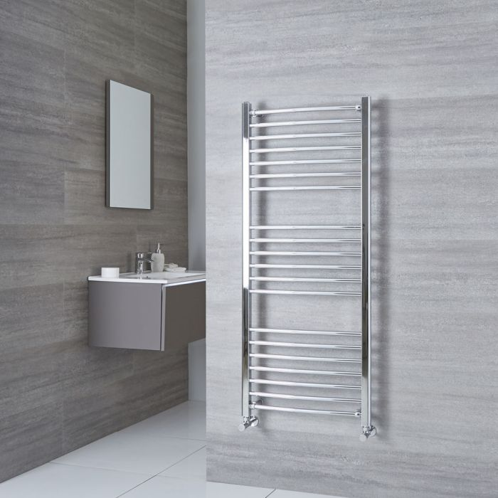 Milano Eco - Curved Chrome Heated Towel Rail 1400mm x 600mm