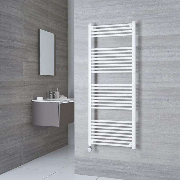Milano Calder Electric - Flat White Heated Towel Rail 1500mm x 500mm
