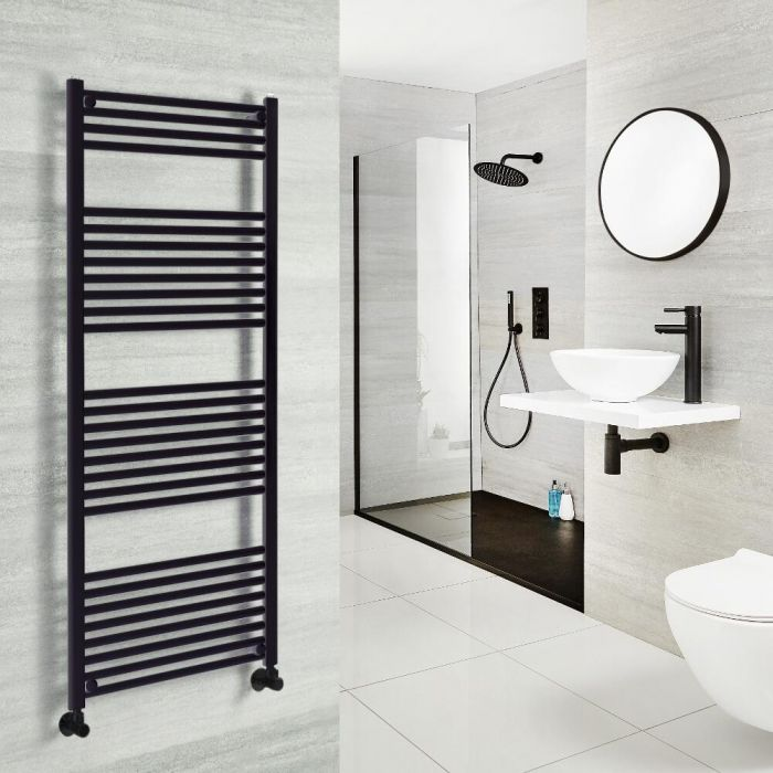 Milano Nero - Black Heated Towel Rail - 1500mm x 600mm