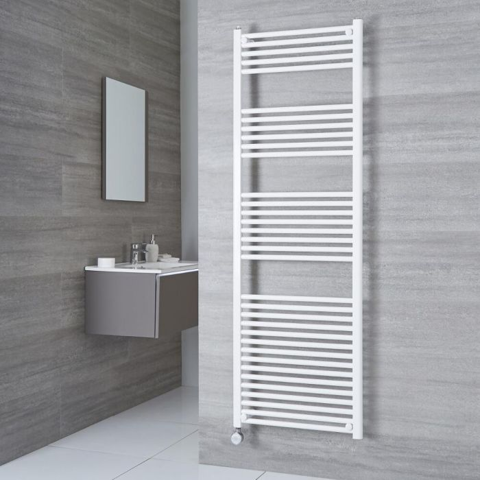 Milano Calder Electric - Flat White Heated Towel Rail 1800mm x 600mm