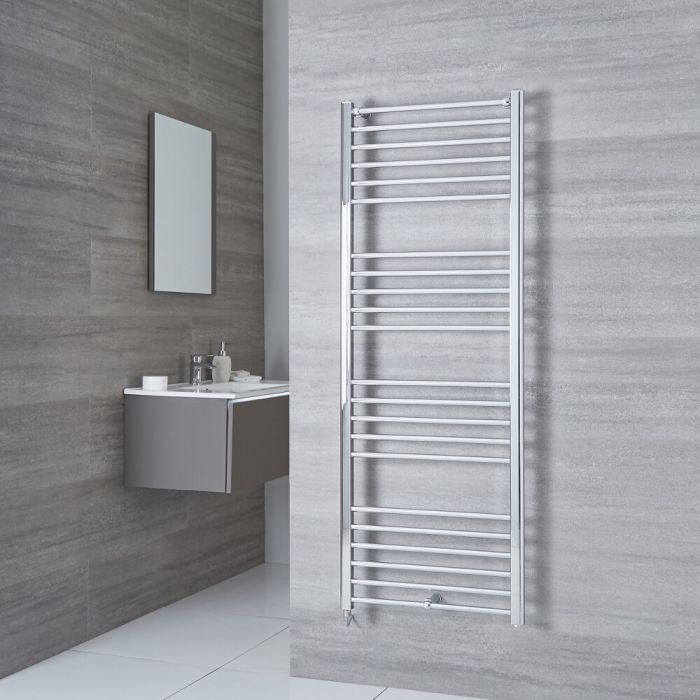 Milano Eco Electric - Flat Chrome Heated Towel Rail 1600mm x 500mm