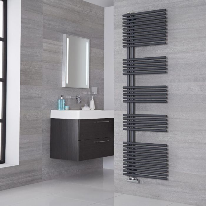 Lazzarini Way - Bari - Anthracite Designer Heated Towel Rail - 1700mm x 500mm