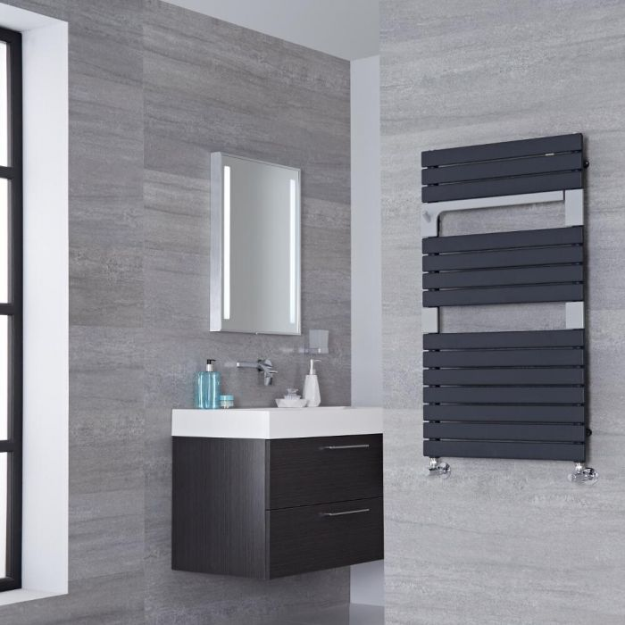 Lazzarini Way - Torino - Anthracite Designer Heated Towel Rail - 952mm x 550mm