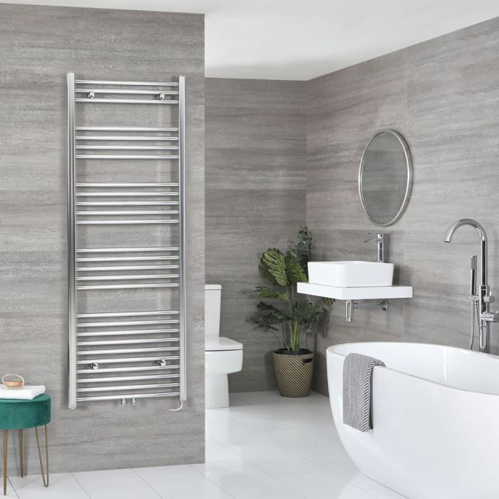Milano Neva Electric - Chrome Heated Towel Rail 1600mm x 600mm